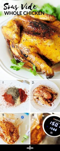 This sous vide whole chicken recipe will be the juiciest tenderest and most flavorful chicken youll ever make. Step-by-step photo guide included. - Sous vide - Ideas of Sous vide Sous Vide Whole Chicken Recipe, New Chicken Recipes, Chicken Flavors, Sous Vide Salmon Recipes, Kitchen Recipes, Cooking Recipes, Healthy Recipes, Cooking Stuff, Healthy Foods