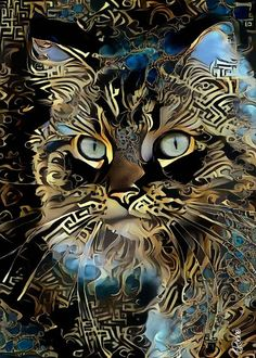 Cat Colors, Beautiful Cats, Animal Paintings, Cat Art, Painting & Drawing, Amazing Art, Cats And Kittens, Fantasy Art, Illustration Art