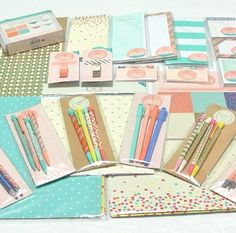Target dollar spot pens and more - love the colors for next year's theme Stationary Supplies, Cute Stationary, Planner Supplies, Planner Ideas, Art Supplies, Life Planner, Happy Planner, Midori, Target Dollar Spot