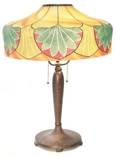 Handel Lamp Good Arts Crafts Design With An Etched Fl On Shade Supported