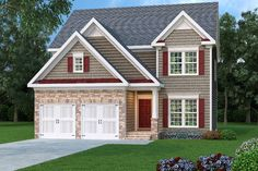 Great gables, horizontal siding and a lovely front covered porch are featured exterior highlights of this traditional house plan. Approximately 2,228 square feet of living space contains a great open layout for entertaining along with four bedrooms, two plus baths and an unfinished basement foundation. The home's drawings feature a 37'width and 43' depth dimensions, …