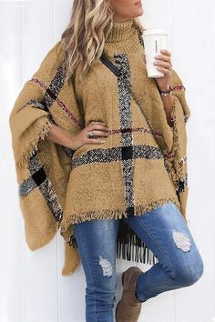 c3194309f9f63 Fashion Tassel Loose High Collar Sweaters Beige Sweater