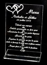 menus plexi personnalisé gravé mariage