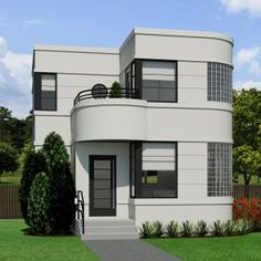 The Contemporary small home plan is designed in the Stre… The Contemporary small home plan is designed in the Streamline Moderne style. The ornamentation. Simple House Design, House Front Design, Modern House Design, New House Plans, Dream House Plans, Modern House Plans, Unique Small House Plans, Small Studio Apartment Design, 2 Storey House Design