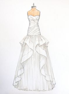 Custom Wedding Dress Sketch of Jim Hjelm dress by ForeverYourDress, $125.00 www.foreveryourdress.com