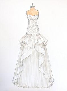 Custom Wedding Dress Sketch of Jim Hjelm dress by ForeverYourDress, $125.00 www.foreveryourdress.com