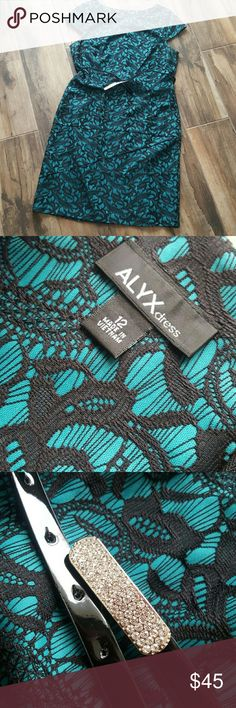 Teal lace dress Cap sleeve. Lace print/embroidered teal dress. ALYX Dresses Midi