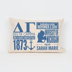 Delta Gamma Custom Sorority Facts Pillow // Greek by Sororitee