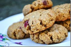 """""""Healthy peanut butter oatmeal breakfast cookies.""""    3/4 cup creamy peanut butter  4 ounces strawberry Greek yogurt  1/2 cup light brown sugar, packed  1 large egg white  1/2 teaspoon vanilla extract  3/4 teaspoon baking soda  1/4 teaspoon salt  1/2 cup whole wheat pastry flour  1 1/2 cups quick oats"""