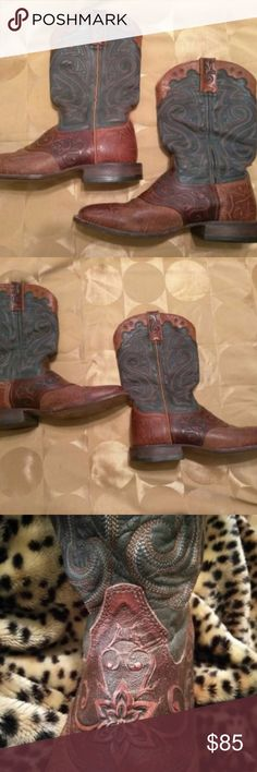 Rocky Women's Western Blue and Brown Leather Boots Rocky Women's Western Blue and Brown Leather Boots 8 M In excellent condition as shown in all pics. Smokefree petless home and ships next day. Rocky Shoes Heeled Boots