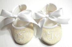 Baby Shoes - Personalized Natural Linen Baby Booties - Monogram Baby Booties - Baby Keepsake - Newborn Keepsake Gift - Baby Boy Gift