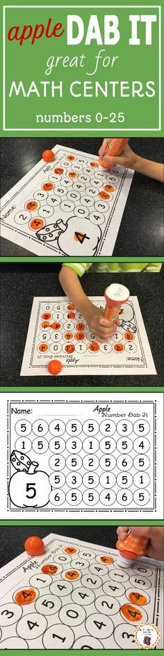 My kids love working with bingo markers! I know your preschool or kindergarten students will love working with these fun and educational apple themed number dab it no prep printables. Your children will enjoy working on number 0-25 recognition in the math center during your back to school unit or apple unit!