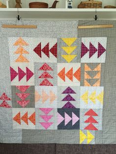 Wrong Way II - made with a selection of grey and the pops of colour from the Blueberry Park fabric range by Karen Lewis Textiles.  Flying Geese Quilt