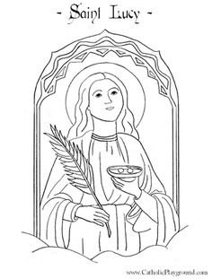 St Lucy Catholic coloring page for children.  Feast day is December 13th.