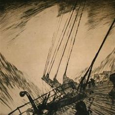 Ocean Boat Storm Limited Edition Ship Deck Etching Print