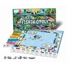 Fishin-Opoly Fishing Trip Fly Fish Fisherman Monopoly Board Game Educational Toy Featuring: Bass, Worms, Bobbers, Salmon, Trout, Musky, Pike, Walleye, Catfish, Perch, Carp, Crappie, Blue Gill and more by Back To Nature Gifts, http://www.amazon.com/dp/B000OADBU2/ref=cm_sw_r_pi_dp_Uz6nrb07D4RYM