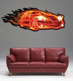 kcik51 Full Color Wall decal super sports car fire speed Power steering living room bedroom