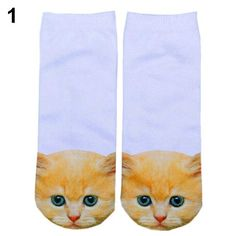 Casual Women's Low Cut short Sock 3D Printed Cartoon Animal Cat Patterns Anklet Hosiery 7JH1