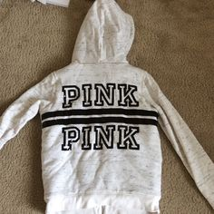 Victoria's Secret pink faux fur jacket Very warm zip up by pink with sequined dog and back PINK Victoria's Secret Sweaters