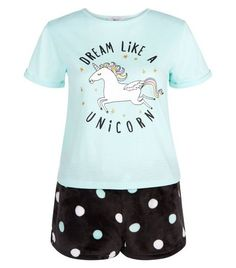 Shop Teens Mint Green Dream Like A Unicorn Pyjama Set . Discover the latest trends at New Look. Cute Pajama Sets, Cute Pjs, Cute Pajamas, Unicorn Fashion, Unicorn Outfit, Unicorn Clothes, Lingerie Sleepwear, Nightwear, Outfits For Teens