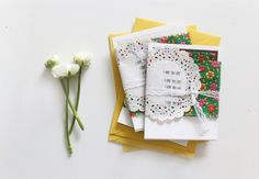 stamped phrases on the side of a paper doily,vintage floral fabric to wrap around cards, then use lace to tie it all together by BECRAFTY Diy Paper, Paper Crafts, Vintage Floral Fabric, Paper Doilies, Envelope Design, Pretty Packaging, Vintage Crafts, Happy Mail, Mail Art