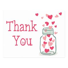 Thank You Pink Hearts Vintage Mason Jar Love Postcard #Ad , #Ad, #Mason#Jar#Love#Vintage Thank You Images, Thank You Messages, Thank You Notes, Thank You Gifts, Thank You Cards, Pink Mason Jars, Vintage Mason Jars, Thank You For Birthday Wishes, Wedding Thank You