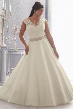 Spitze V-Ausschnitt Tüll Satin gekappte Ärmel aufgeblähtes volle länge Brautkleider