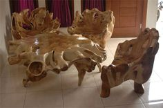 Totally awesome furniture carved out of tree roots!
