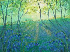Bluebell Glade - mixed media on a 12 x 9 inch box canvas (original sold) by Jo Grundy Bunny Art, House Art, Picture Cards, Naive Art, Spring Garden, Forests, Mixed Media Art, Felting, Color Combinations