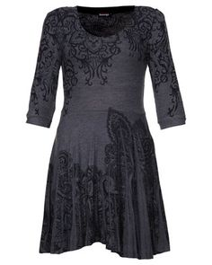 Sport a flattering look with this Lace Print Flare Dress by Revenge. This popular design is charcoalin colour, while it showcases a lace-inspired print. Boasting a flared skirtand a scoop neckline, it is completed with fitted, elbow length sleeves. Perfectfor a casual evening out, pair it with tights, boots and a classic coat.