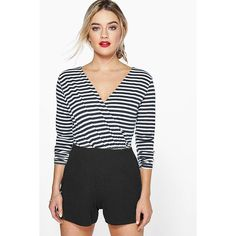 Boohoo Lola Striped Wrap Front Playsuit ($26) ❤ liked on Polyvore featuring jumpsuits, rompers, black, striped romper, party rompers, wrap front romper, long-sleeve rompers and long-sleeve romper