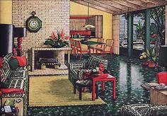 Feasting on Asphalt - Asphalt flooring, that is! Retro Armstrong Flooring Ads. Mid Century Living Room, Mid Century Decor, Mid Century House, Living Vintage, Vintage Room, Vintage Homes, Vintage Space, Vintage Ads, Armstrong Flooring