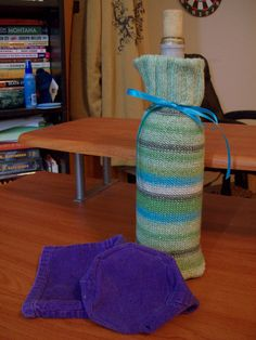 How to make a wine bottle sleeve out of old clothing.