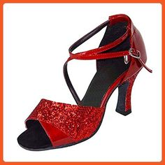 39b1fb0a313 Shoesland W951 Women s Peep Toe Chunky Heel Salsa Tango Ballroom Latin  Dance Dance Shoes Red PU. Boty ...