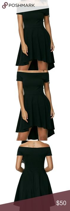 Black Skater Dress Show off your amazing fashion sense with this dress which features an elastic off the shoulder neckline, a short sleeve, a slim fitting bodice and a super cute skater skirt with a hi low hem. A definite stunner any day due to it's slim waist, fitted bodice and a super-cute flared skirt. All The Rage Skater Dress is a definite gorgeous and elegant wear for your next social activity. D-50 Dresses High Low