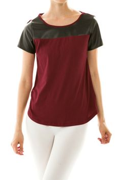 Colorblock Leather Detail Top #Shirt