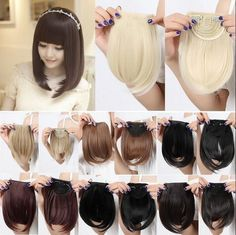 Hot Straight Synthetic Hair Fringe Bang Hairpiece Clip-In Front Hair Extension. Hot Straight Synthetic Hair Fringe Bang Hairpiece Clip-In Front Hair Extension. Best Human Hair Extensions, Volume Eyelash Extensions, Clip In Hair Extensions, Fringe Hairstyles, Fancy Hairstyles, Mega Hair Tic Tac, Fringe Bangs, Human Hair Clip Ins, Straight Bangs