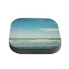 "Susannah Tucker ""The Teal Ocean"" Green Blue Coasters (Set of 4)"