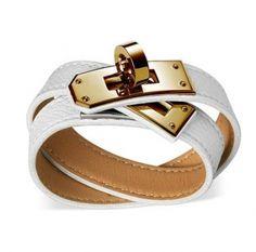 Kelly Double Tour Hermes white epsom calfskin bracelet