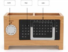 Wooden Struction Multi-function Desk Stationery Organizer Storage Box With Perpetual Calendar Creative Calendar, Calendar Design, Table Calendar, Desk Stationery, Unusual Gifts, Desk Organization, Desk Accessories, Pencil Holder, Journal