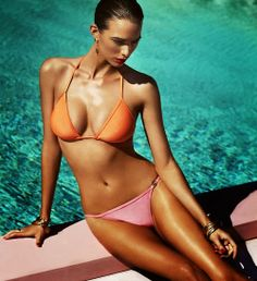 Summer tan with orange and pink bikini