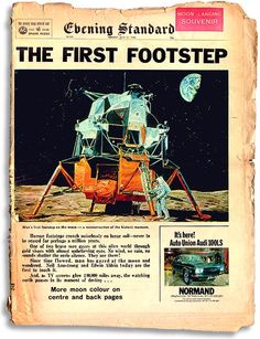 """of July Apollo Evening Standard """"Moon Landing Souvenir"""" issue. Neil Armstrong, Nasa Missions, Apollo Missions, Apollo 11, Apollo Space Program, Universe Images, Vintage Newspaper, Newspaper Headlines, Space Race"""