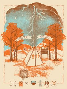 Original Moonrise Kingdom Art Print Poster Wes Anderson Blu Life Aquatic Zissou