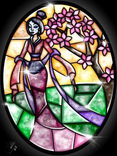 Stained Glass Mulan by CallieClara on DeviantArt Arte Disney, Disney Fan Art, Disney Magic, Disney Dream, Disney Girls, Disney Love, Disney Stained Glass, Stained Glass Art, Disney And Dreamworks