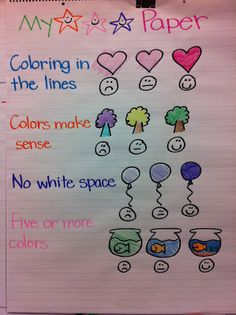 how to color anchor chart... sad to think I need to make one, but most children do not know how to color!