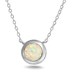 Bling Jewelry Bling Jewelry Sterling Silver Round White Opal Bezel Set... ($27) ❤ liked on Polyvore featuring jewelry, necklaces, white, white opal pendant, sterling silver necklace, white opal necklace, pendant necklace and opal pendant