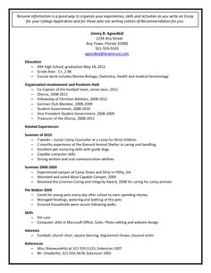 college admission resume template document sample - Sample College Admissions Resume