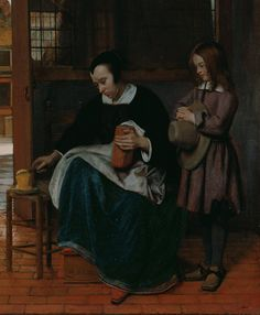 """A Woman Preparing Bread and Butter for a Boy"" , Pieter de Hooch (деталь)"