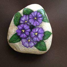 Hand Painted rock of purple, violet primrose flowers by LucidOldLadyStudio on Etsy https://www.etsy.com/listing/198609829/hand-painted-rock-of-purple-violet