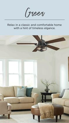 Use an industrial and farmhouse style ceiling fan like Greer with its wire mesh shade to create a beautiful living room look. This five-blade 54 inch Greer ceiling fan features two vintage LED lamps. Living Room Fans, Living Room Ceiling Fan, Living Room Lighting, Farmhouse Style Ceiling Fan, Ceiling Fan In Kitchen, French Country Living Room, Beautiful Living Rooms, Black Ceiling, Urban Industrial